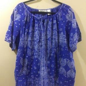 Royal Blue Top w/ White Print, Size 3X